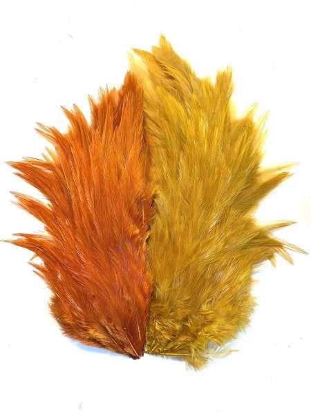 Custom dyed Rooster Necks -Ginger/Banana-