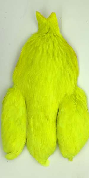 Whiting 4 B's Hen Cape White dyed - Fluo Yellow Chartreuse